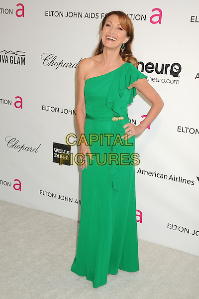 Jane Seymour.21st Annual Elton John Academy Awards Viewing Party held at West Hollywood Park, West Hollywood, California, USA..February 24th, 2013.oscars full length green one shoulder dress hand on hip .CAP/ADM/BP.©Byron Purvis/AdMedia/Capital Pictures.
