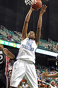 UNC forward Jessica Breland makes a layup in the second half. Breland scored 28 total points. This game was one of the two Semifinal games of the 2011 ACC Tournament in Greensboro on Saturday, March 5, 2011. UNC beat Miami 83-57. (Photo by Al Drago)