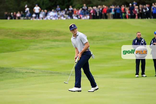 Sam Burns (USA) on the 18th green during Day 2 Singles for the Junior Ryder Cup 2014 at Blairgowrie Golf Club on Tuesday 23rd September 2014.<br /> Picture:  Thos Caffrey / www.golffile.ie