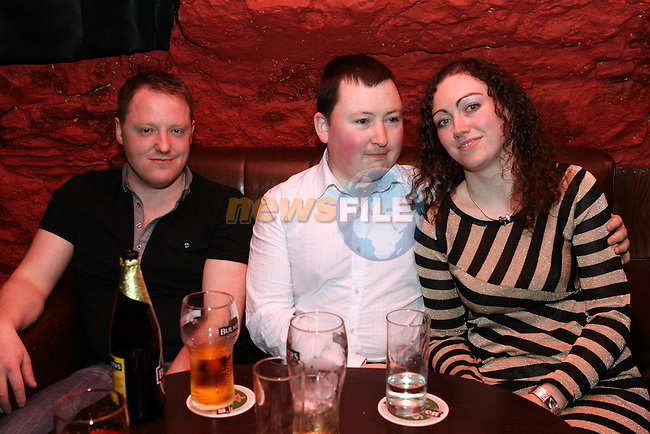 Alan English, Darragh Ó Héiligh and Emma Jane Murphy at the ACDC Tribute Gig in Darby O'Gills...(Photo Jenny Matthews/www.newsfile.ie)