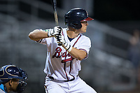 Hagen Owenby (49) of the Danville Braves at bat against the Princeton Rays at American Legion Post 325 Field on June 25, 2017 in Danville, Virginia.  The Braves walked-off the Rays 7-6 in 11 innings.  (Brian Westerholt/Four Seam Images)