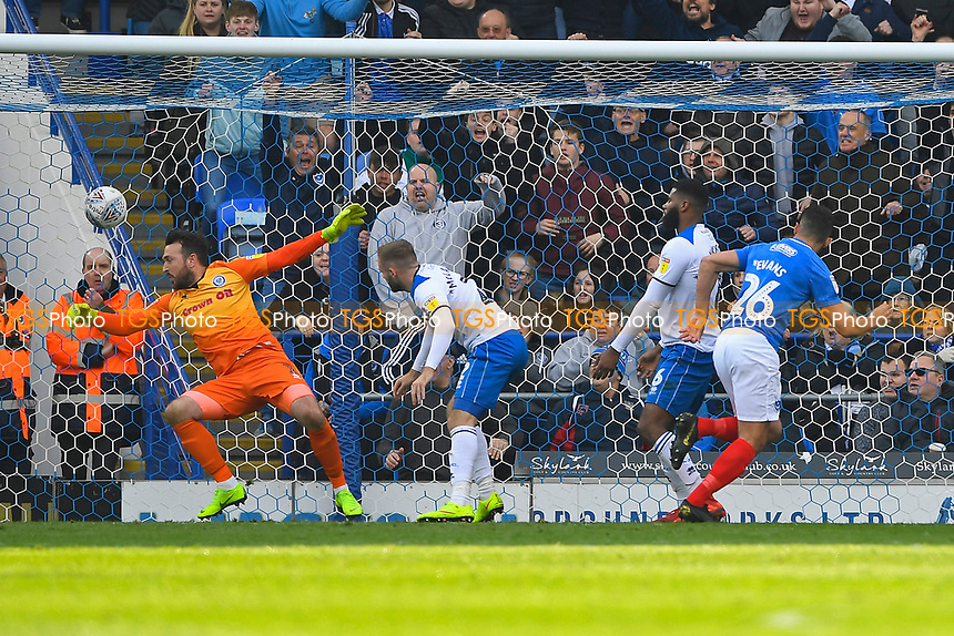 Gareth Evans of Portsmouth (26) heads the third goal to make the score 3-1  during Portsmouth vs Rochdale, Sky Bet EFL League 1 Football at Fratton Park on 13th April 2019
