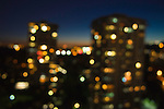 Bokeh lights of towers in Burnaby, BC Canada