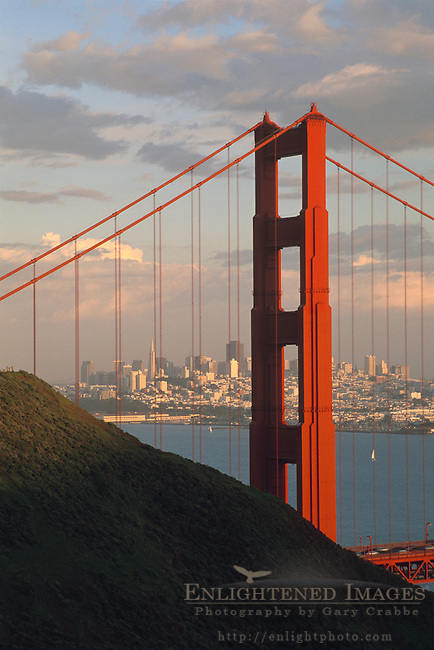San Francisco and the Golden Gate Bridge  seen from the Marin Headlands, California