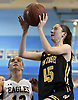 Morgan Flaherty #45 of Wantagh, right, drives to the net for a lay up during a non-league girls basketball game against West Babylon at Robert Moses Middle School in North Babylon on Saturday, Dec. 22, 2018. Wantagh won by a score of 49-30.