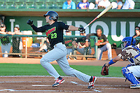 Dillon Haupt (23) of the Great Falls Voyagers at bat against the Ogden Raptors in Pioneer League action at Lindquist Field on July 17, 2014 in Ogden, Utah.  (Stephen Smith/Four Seam Images)