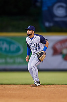 Brooklyn Cyclones second baseman Carlos Cortes (44) during a game against the Tri-City ValleyCats on August 21, 2018 at Joseph L. Bruno Stadium in Troy, New York.  Tri-City defeated Brooklyn 5-2.  (Mike Janes/Four Seam Images)