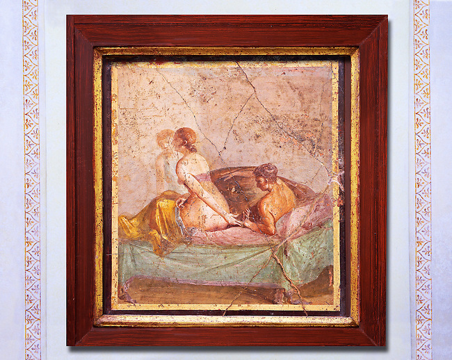 1 cent AD Roman Erotic  fresco from a house in Pompeii. Naples Archaological Museum