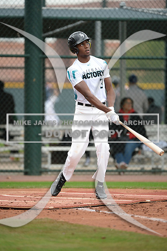 Elijah Mundy (3) of LEESVILLE High School in Leesville, Louisiana during the Under Armour All-American Pre-Season Tournament presented by Baseball Factory on January 14, 2017 at Sloan Park in Mesa, Arizona.  (Art Foxall/Mike Janes Photography)
