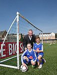 Brian McClair at Lesser Hampden with some of the new intake for the SFA's Performance Schools: Darren Watson and Neve Guthrie from St John's in Dundee