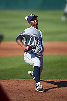 Mahoning Valley Scrappers starting pitcher Juan Hillman (25) delivers a pitch during a game against the Auburn Doubledays on June 19, 2016 at Falcon Park in Auburn, New York.  Mahoning Valley defeated Auburn .  (Mike Janes/Four Seam Images)