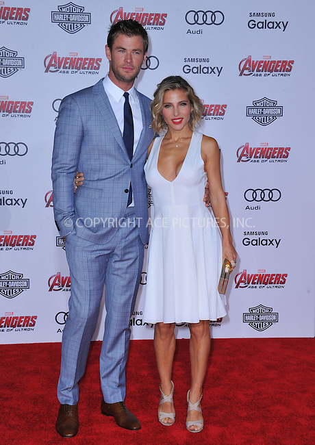 WWW.ACEPIXS.COM<br /> <br /> April 13 2015, LA<br /> <br /> Chris Hemsworth and Elsa Pataky arriving at the Premiere Of Marvel's 'Avengers: Age Of Ultron' at the Dolby Theatre on April 13, 2015 in Hollywood, California.<br /> <br /> <br /> By Line: Peter West/ACE Pictures<br /> <br /> <br /> ACE Pictures, Inc.<br /> tel: 646 769 0430<br /> Email: info@acepixs.com<br /> www.acepixs.com