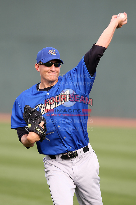 Omaha Storm Chasers pitcher Mike Montgomery #22 warms up in the outfield before a game against the Nashville Sounds at Greer Stadium on April 25, 2011 in Nashville, Tennessee.  Omaha defeated Nashville 2-1.  Photo By Mike Janes/Four Seam Images