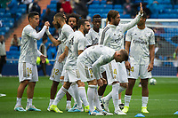 Spanish league football league between Real Madrid vs Levante at Santiago Bernabeu stadium in Madrid on Septemberl 14, 2019.<br /> Real Madrid's players