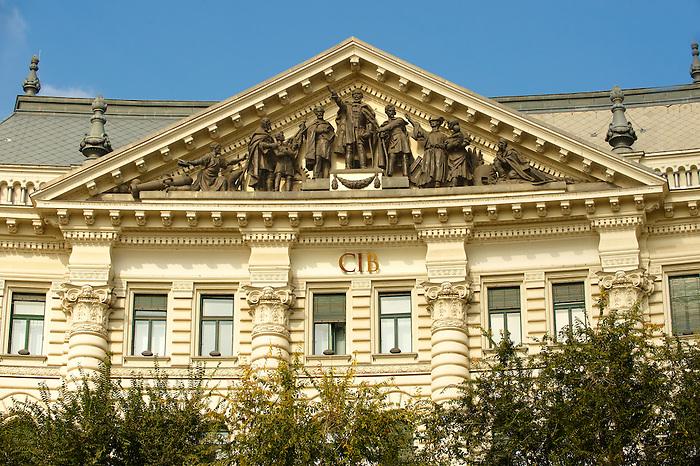 Head office of the CIB Bank on Freedom Square ( Szabadság tér ). Budapest, Hungary