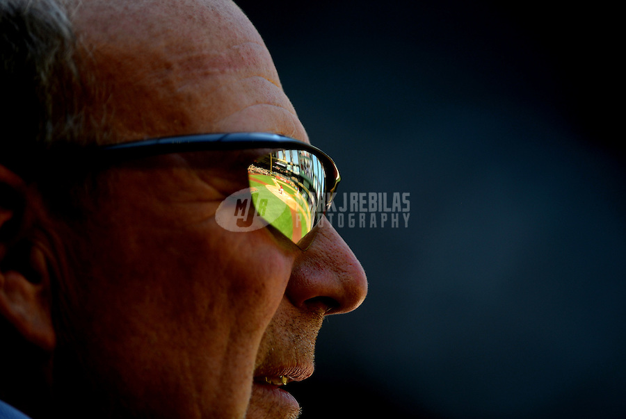 Apr. 18, 2012; Phoenix, AZ, USA; Chase Field reflects in the sunglasses of MLB umpire Bob Davidson in the first inning of the game between the Arizona Diamondbacks against the Pittsburgh Pirates. Mandatory Credit: Mark J. Rebilas-