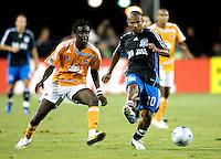 13 September 2008: Francisco Lima of the Earthquakes dribbles the ball away from Kei Kamara of the Dynamo during the game at Buck Shaw Stadium in Santa Clara, California.   San Jose Earthquakes tied Houston Dynamo, 1-1.