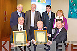 HONOURS: Dan Lynch, Kilgarvan and 100 year old Michael Fleming who received honorary life membership to IFA from Brian Barry assistant general secretary of the IFA at the Kerry IFA chairmanship at the Manor West hotel, Tralee on Monday seated l-r: Dan Lynch, Michael Fleming and Brian Barry (assistant general secretary IFA). Back l-r: John O'Sullivan, James Doyle, James McCarthy (outgoing chairman Kerry IFA) and Mary Fleming.