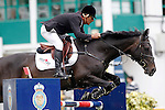 Portugal's jockey Miguel Bravo with the horse HHS Acorado during 102 International Show Jumping Horse Riding, King's College Trophy. May, 20, 2012. (ALTERPHOTOS/Acero)