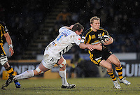Wycombe, GREAT BRITAIN, Wasps',  Josh LEWSEY, tackled by Dean SCHOFIELD, during the Guinness Premiership game, London Wasps vs Sale Sharks 15.04.2008 [Mandatory Credit Peter Spurrier/Intersport Images]