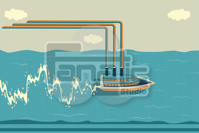 Illustrative image of ship sailing on water with graph indicating profit and loss in shipping industry