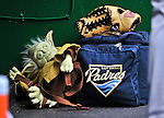 29 May 2011: San Diego Padres relief pitcher Cory Luebke's Yoda Backpack rests in the dugout prior to a game against the Washington Nationals at Nationals Park in Washington, District of Columbia. The Padres defeated the Nationals 5-4 to take the rubber match of their 3-game series. Mandatory Credit: Ed Wolfstein Photo