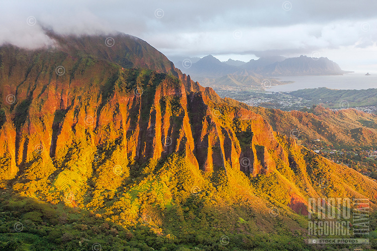 "An aerial view of the Ko'olau mountain range at dawn from the Haiku Stairs (""Stairway to Heaven"") hiking trail in Kaneohe, O'ahu"