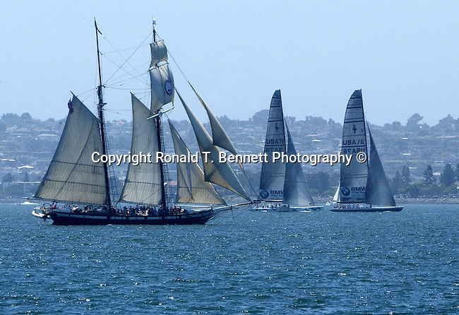 Schooner America and Americas Cup class racing yacht on San Diego Bay California, Dennis Conner Stars and Stripes and Abracadabra San Diego Bay California, Stars and Stripes, Abracadabra, America schooner, schooner, Tall ship, rig, Sail boats San Diego Bay California,  sail boat, California, sail boats, boats, sail,  California Fine Art Photography by Ron Bennett