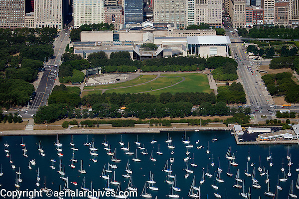 aerial photograph James C. Petrillo Music Shell, Art Institute, Grant Park, Chicago, Illinois