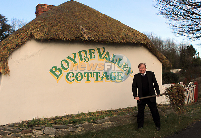 Frank Godfrey showing the completed roof on his cottage...(Photo credit should read Jenny Matthews www.newsfile.ie)....This Picture has been sent you under the conditions enclosed by:.Newsfile Ltd..The Studio,.Millmount Abbey,.Drogheda,.Co Meath..Ireland..Tel: +353(0)41-9871240.Fax: +353(0)41-9871260.GSM: +353(0)86-2500958.email: pictures@newsfile.ie.www.newsfile.ie.