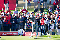 Thomas Pieters (Team Europe) on the 9th tee during the Saturday morning Foursomes at the Ryder Cup, Hazeltine national Golf Club, Chaska, Minnesota, USA.  01/10/2016<br /> Picture: Golffile | Fran Caffrey<br /> <br /> <br /> All photo usage must carry mandatory copyright credit (&copy; Golffile | Fran Caffrey)