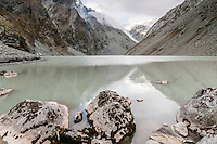 Ice Lake, alpine lake in Southern Alps with Shackleton and Whataroa Glaciers in background,  Westland National Park, West Coast, New Zealand