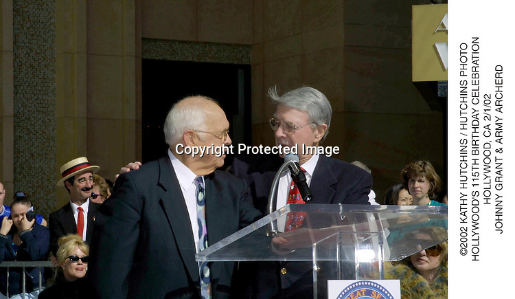©2002 KATHY HUTCHINS / HUTCHINS PHOTO.HOLLYWOOD'S 115TH BIRTHDAY CELEBRATION.HOLLYWOOD, CA 2/1/02.JOHNNY GRANT & ARMY ARCHERD