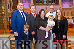 Baby Sadhbh O'Halloran with he parents Joe & Catriona O' Halloran and brother Partick and god parents James Duggan & Anne Marie O'Halloran who was christened in St. Mary's Church, Listowel by Canon Declan O'Connor on Saturday last and afterwards at the Listowel Arms Hotel.