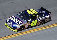 Feb 07, 2009; Daytona Beach, FL, USA; NASCAR Sprint Cup Series driver Jimmie Johnson during practice for the Daytona 500 at Daytona International Speedway. Mandatory Credit: Mark J. Rebilas-