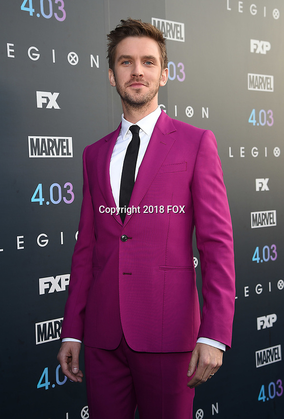 """LOS ANGELES, CA - APRIL 2: Dan Stevens attends the season two premiere of FX's """"Legion"""" at the DGA Theater on April 2, 2018 in Los Angeles, California. (Photo by Frank Micelotta/FX/PictureGroup)"""