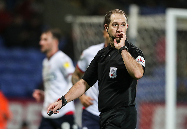 Referee Jeremy Simpson<br /> <br /> Photographer Andrew Kearns/CameraSport<br /> <br /> The EFL Sky Bet Championship - Bolton Wanderers v Rotherham United - Wednesday 26th December 2018 - University of Bolton Stadium - Bolton<br /> <br /> World Copyright © 2018 CameraSport. All rights reserved. 43 Linden Ave. Countesthorpe. Leicester. England. LE8 5PG - Tel: +44 (0) 116 277 4147 - admin@camerasport.com - www.camerasport.com