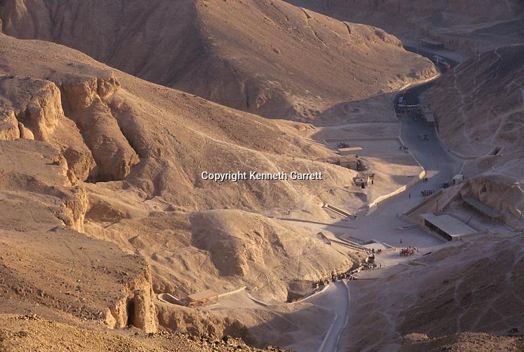Valley of the Kings; Luxor; Egypt; New Kingdom; tomb; entrances to tombs of Tutankhmun, Ramses III, Ramses VI, Ramses IX, Ramses II, Horemheb, Amenhotep II, Amenmesse, and Amarna cache