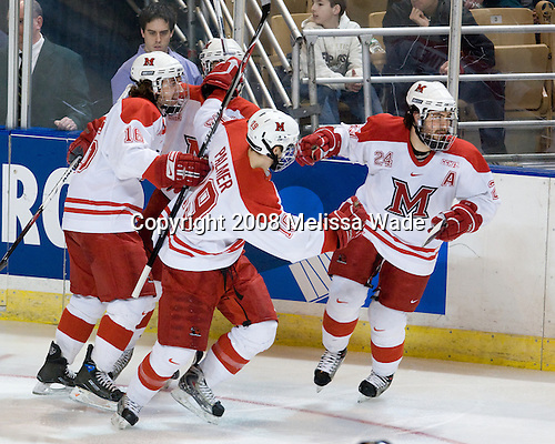Justin Mercier (Miami - 16), Alec Martinez (Miami - 21), Jarod Palmer (Miami - 19), Kevin Roeder (Miami - 24) - The Boston College Eagles defeated the Miami University RedHawks 4-3 in overtime on Sunday, March 30, 2008 in the NCAA Northeast Regional Final at the DCU Center in Worcester, Massachusetts.