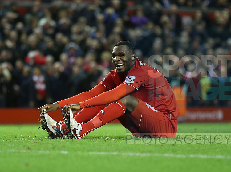 Liverpool's Christian Benteke smiles after a missed chance<br /> <br /> Barclays Premier League- Liverpool vs Leicester City - Anfield - England - 26th December 2015 - Picture David Klein/Sportimage