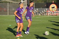 Piscataway, NJ - Wednesday Sept. 07, 2016: Monica, Alex Morgan prior to a regular season National Women's Soccer League (NWSL) match between Sky Blue FC and the Orlando Pride FC at Yurcak Field.