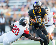 Baltimore, MD - SEPT 10, 2016: Towson Tigers wide receiver Andre Dessenberg (18) makes a move on St. Francis (Pa) Red Flash linebacker Marcus Pickens (20) during game their match up at Johnny Unitas Stadium in Baltimore, MD. The Tigers defeated St. Francis 35-28. (Photo by Phil Peters/Media Images International)