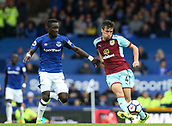 1st October 2017, Goodison Park, Liverpool, England; EPL Premier League Football, Everton versus Burnley; Aiden O'Neill of Burnley plays the ball out of defence challenged by Idrissa Gueye of Everton
