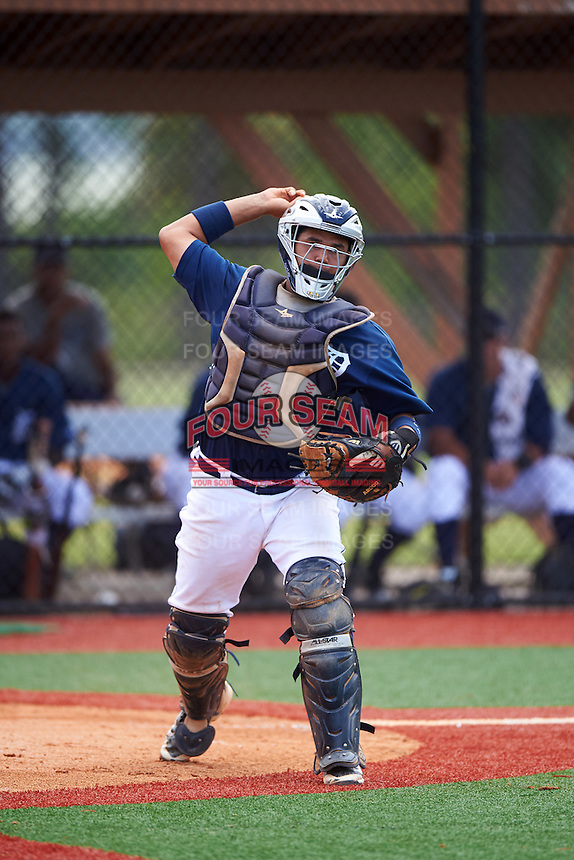 GCL Tigers East catcher Elys Escobar (22) throws to first during a game against the GCL Tigers West on August 4, 2016 at Tigertown in Lakeland, Florida.  GCL Tigers West defeated GCL Tigers East 7-3.  (Mike Janes/Four Seam Images)