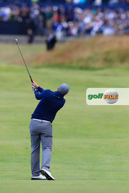 Paul DUNNE (AM)(IRL) plays his 2nd shot on the 17th hole during Sunday's Round 3 of the 144th Open Championship, St Andrews Old Course, St Andrews, Fife, Scotland. 19/07/2015.<br /> Picture Eoin Clarke, www.golffile.ie