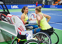 December 20, 2014, Rotterdam, Topsport Centrum, Lotto NK Tennis, Wheelchair doubles final Marjolein Buis (L) and het partner Michaela Spaanstra<br /> Photo: Tennisimages/Henk Koster