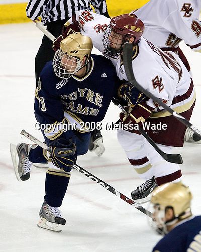 Kevin Deeth (Notre Dame - 21), Matt Price (Boston College - 25) - The University of Notre Dame Fighting Irish defeated the Boston College Eagles 4-1 on Friday, November 7, 2008, at Conte Forum in Chestnut Hill, Massachusetts.