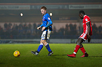 Rochdale's Callum Camps (left) and Walsall's Daniel Agyei (right) in action during the Sky Bet League 1 match between Rochdale and Walsall at Spotland Stadium, Rochdale, England on 23 December 2017. Photo by Juel Miah / PRiME Media Images.