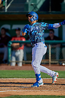 Andy Pages (18) of the Ogden Raptors at bat against the Idaho Falls Chukars at Lindquist Field on August 9, 2019 in Ogden, Utah. The Raptors defeated the Chukars 8-3. (Stephen Smith/Four Seam Images)