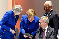 10 April 2019 - British Prime Minister Theresa May, German Chancellor Angela Merkel and Jeppe Tranholm-Mikkelsen Secretary-General of Council of the European Union talk at a round table meeting in Brussels, Belgium.Theresa May formally presents her case to the European Union for a short delay to Brexit until 30 June 2019. The other EU leaders will then then discuss how to respond at a dinner without her. Photo Credit: ALPR/AdMedia